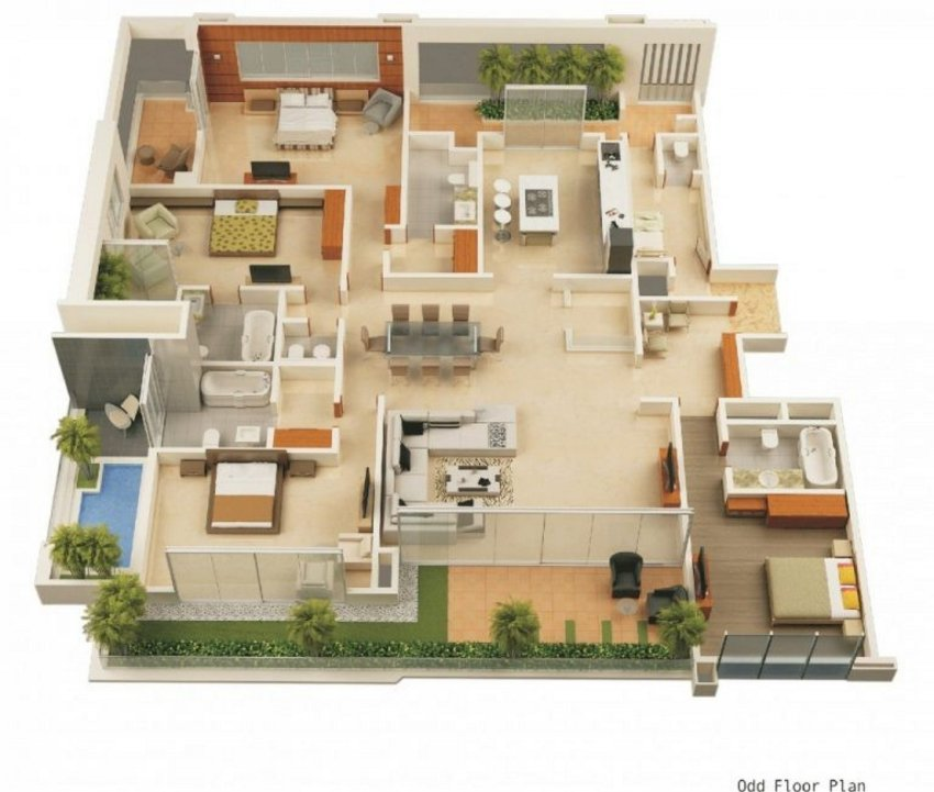 3D Floor Plan Painting 4