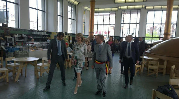 Queen Mathilde of Belgium visits the exhibition Work/Travail/Arbeid by Anne Teresa De Keersmaeker in collaboration with Rosas at the contemporary art center Wiels in Brussels