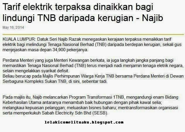 Tarif elektrik terpaksa dinaikkan bagi melindungi TNB daripada kerugian.