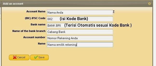 form akun data bank