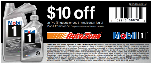 Performance codes in store coupon autozone 10 off on for How much is motor oil at autozone