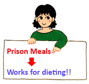 Image of a person holding a sign saying, Prison Menu works for dieting!