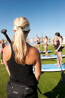 Instructor teaching land drills in SUP- Basic Skills