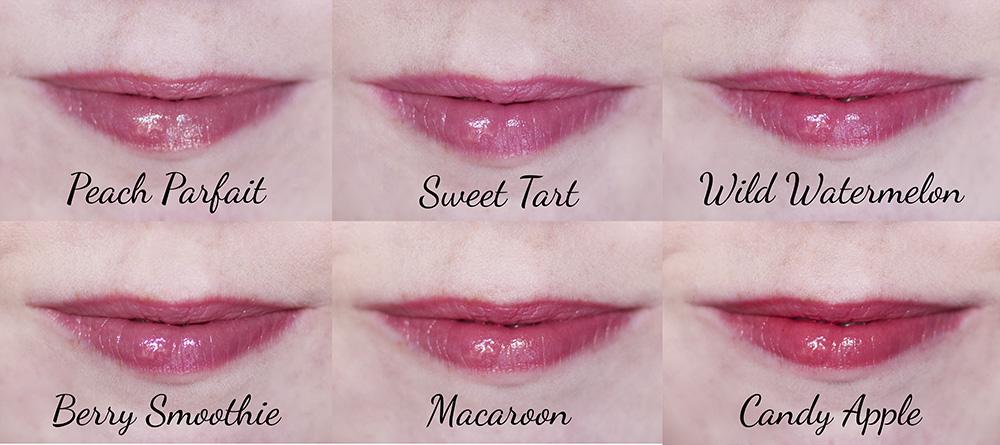 Revlon Lip Butter Peach Parfait Sweet Tart Wild Watermelon Berry Smoothie Macaroon Candy Apple Swatches