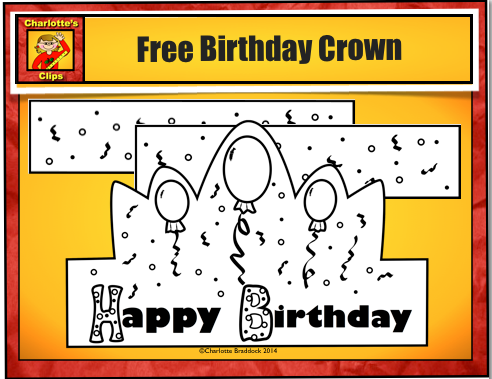 Charlotte 39 s clips and kindergarten kids free birthday for Happy birthday crown template