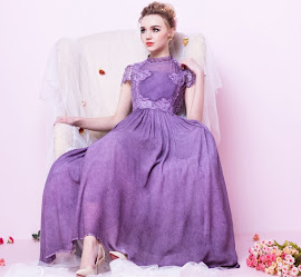 New 2016 Three Color Vintage High Neck Lace Chiffon Maxi