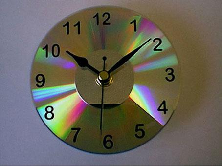 Ideas para reciclar reloj de cd s o dvd s - Reloj pegado pared ...