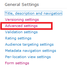 Advanced Settings in List Settings