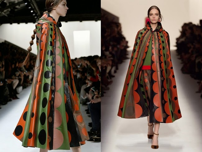 Valentino 2014 AW Xmas Circular Print Leather Cape 聖誕節穿搭