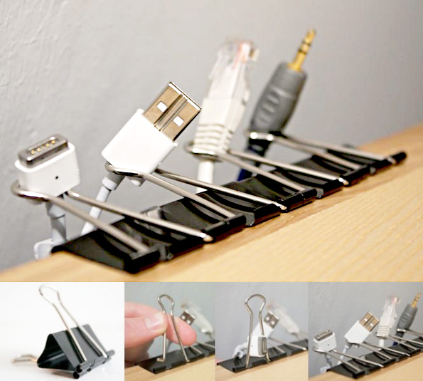 maiko nagao diy binder clips cable organiser. Black Bedroom Furniture Sets. Home Design Ideas