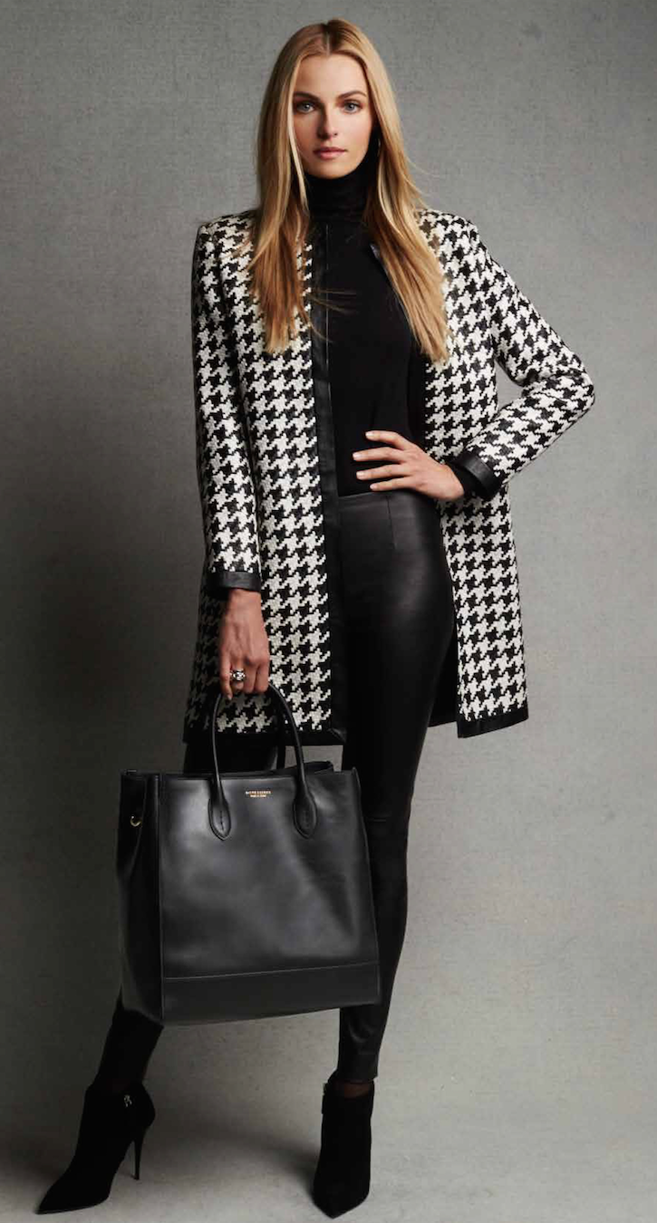 Ralph Lauren Black Label Adelle Woven Leather Houndstooth Coat black /vanilla