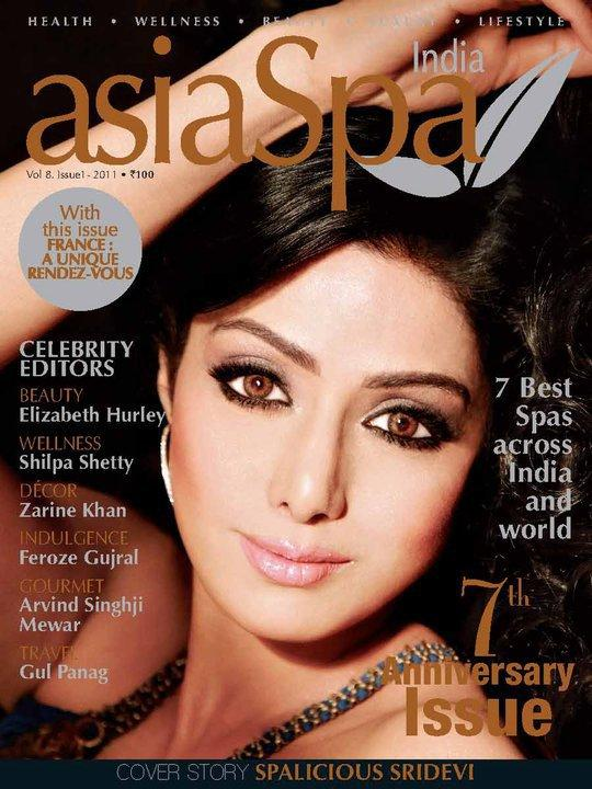 Sridevi on Asia Spa Magazine Cover April 2011 Edition