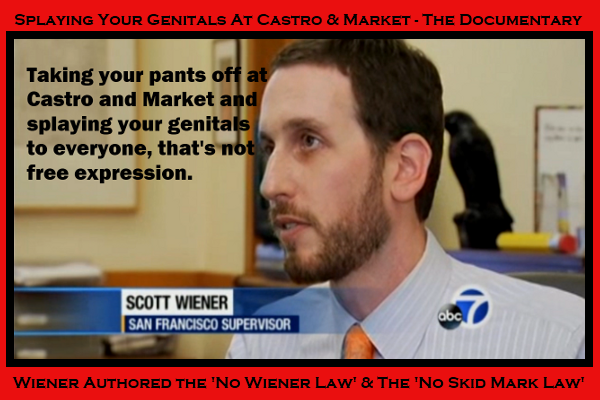 "Supervisor Scott Wiener in a scene from the film ""Splaying Your Genitals At Castro & Market - The Documentary Short"" which is now in limited release."