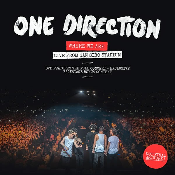 one direction, where we are live from san siro stadium, dvd, wwa tour dvd, 1d, san siro, italy, copertina dvd, dvd cover, harry styles, liam payne, louis tomlinson, niall horan, zayn malik
