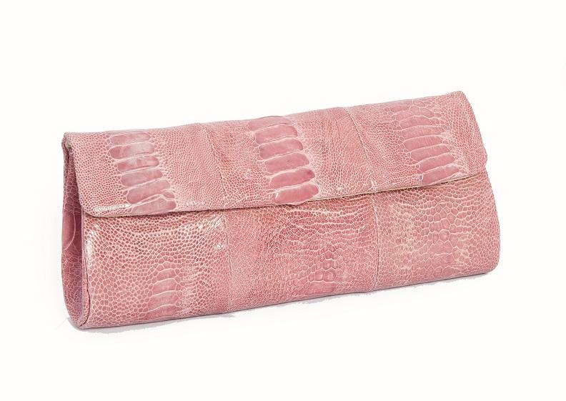 Клатч из кожи страуса, глянец, розовый, фирма Rarity Handbags (RH) ручной работы эксклюзив