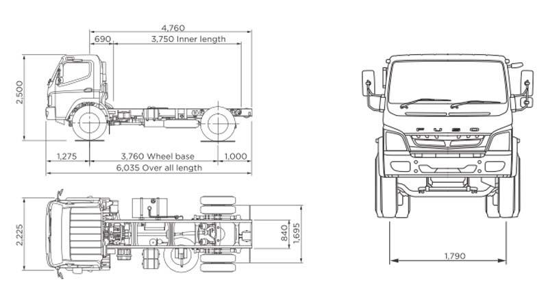 Dimensi Mitsubishi Fuso FI 1217 4X2 170 PS Jambi