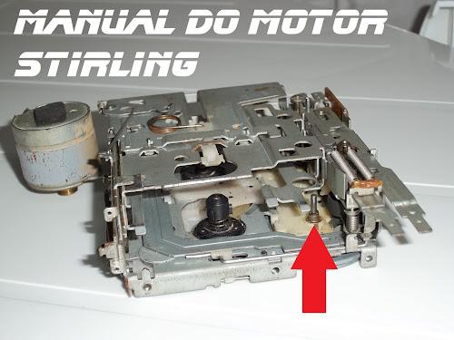 Manual do motor Stirling, máquina de toca fitas auto reverce, indicando a posição da bucha