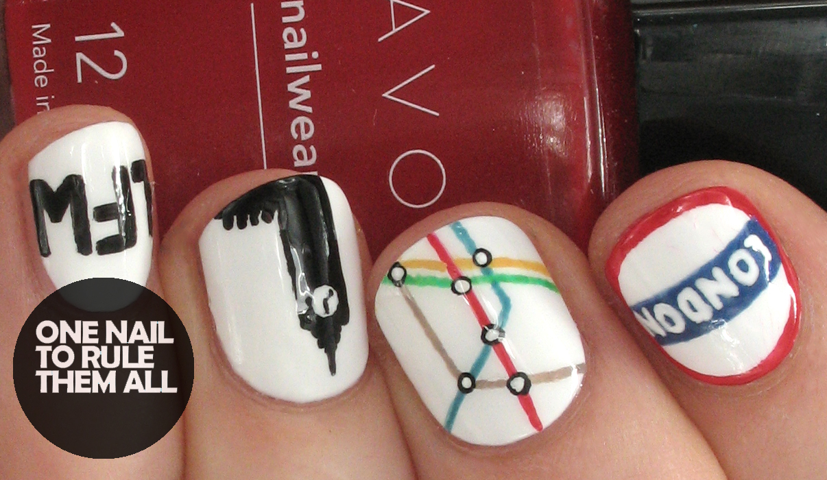 One nail to rule them all london fashion week nail art for avon so ive decided to post them anyway theyre effective as just london nails if you ignore the little finger anyway prinsesfo Gallery