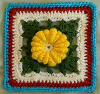 "Free granny square crochet pattern - Irish Ivy Rose 6"""