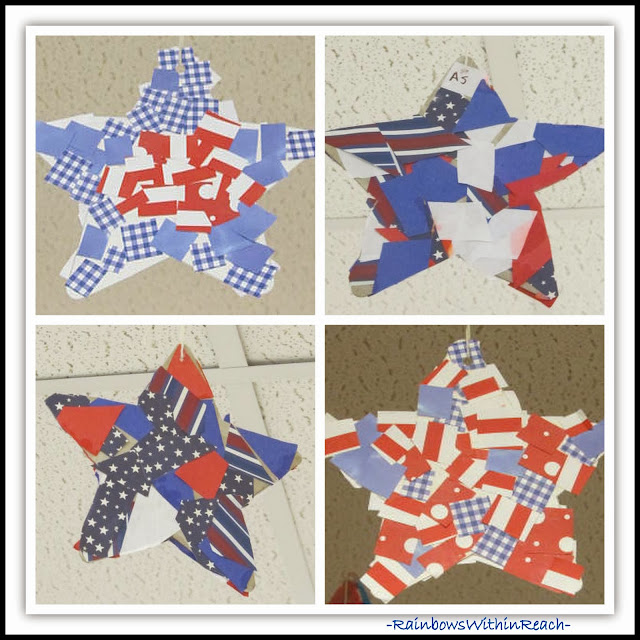 Patriotic Stars using Scrapbook Paper Collage via RainbowsWithinReach