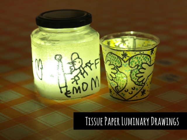 tissue paper luminary drawings- beautiful art and craft idea for celebrating martin luther king jr day