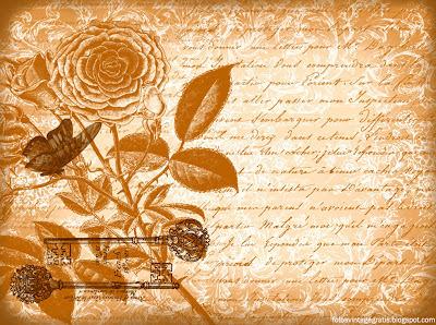 fondo vintage con flores, llaves y mariposa en tonos ocre