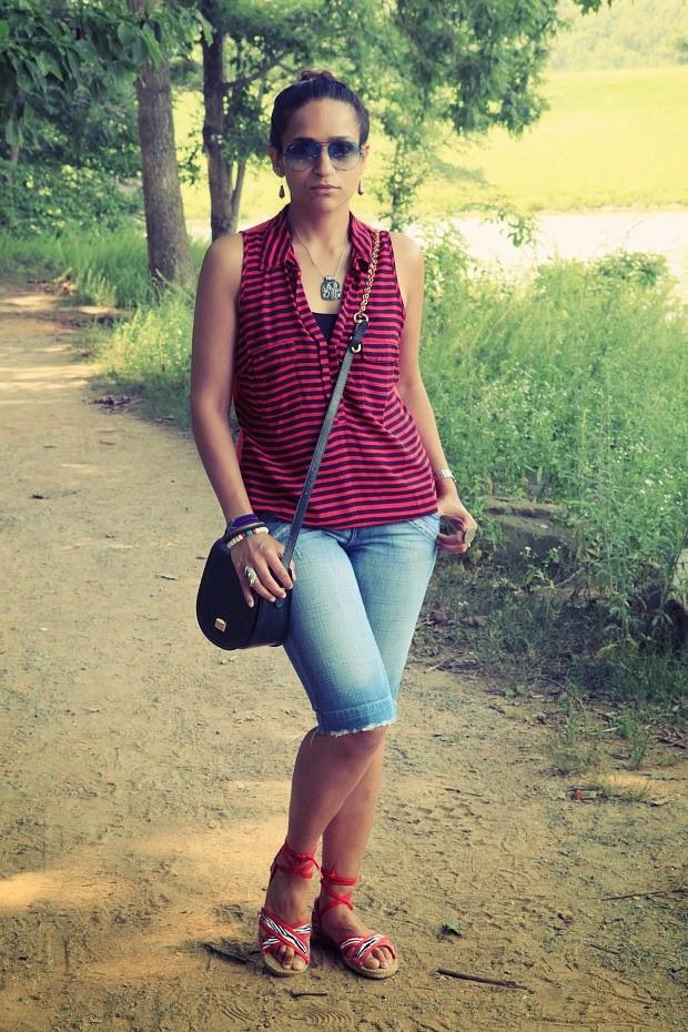 Top - Splendid, Shorts - Zara, Footwear - From Brazil, Jewelry - From the travels, Bag - Vintage Bally. Tanvii.com