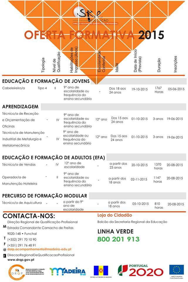 Cursos financiados Funchal 2015 (Efa, Aprendizagem, Cef, Formação Modular)