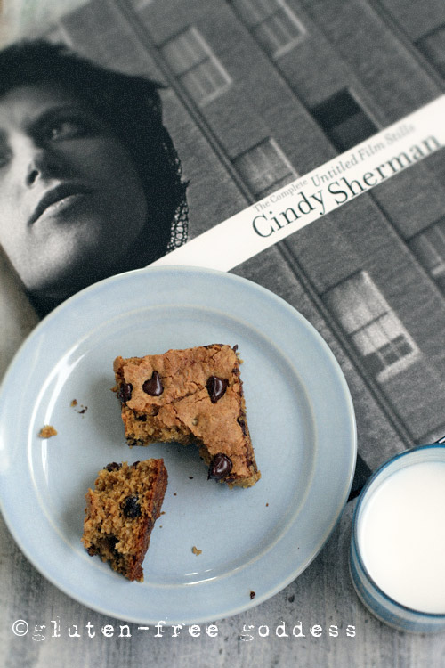 Gluten-free quinoa bars- tasty, like a blondie. Perfect with Cindy Sherman.