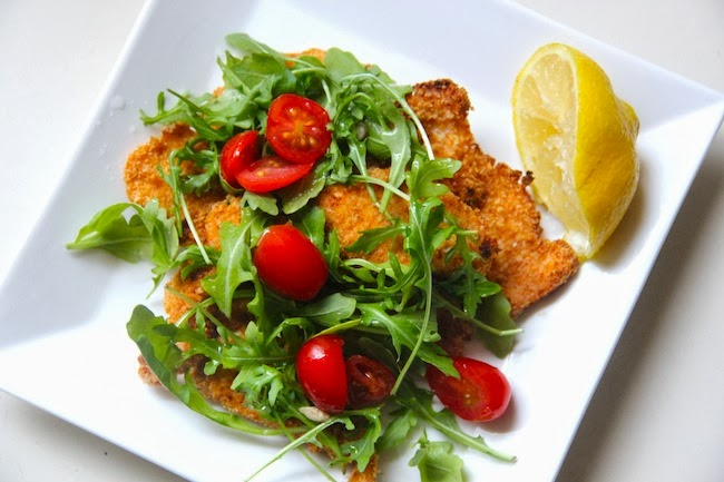 Food and the City: baked chicken milanese with arugula & tomato salad