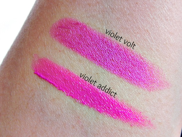 swatch, review, milani violet volt, milani liquid color violet addict