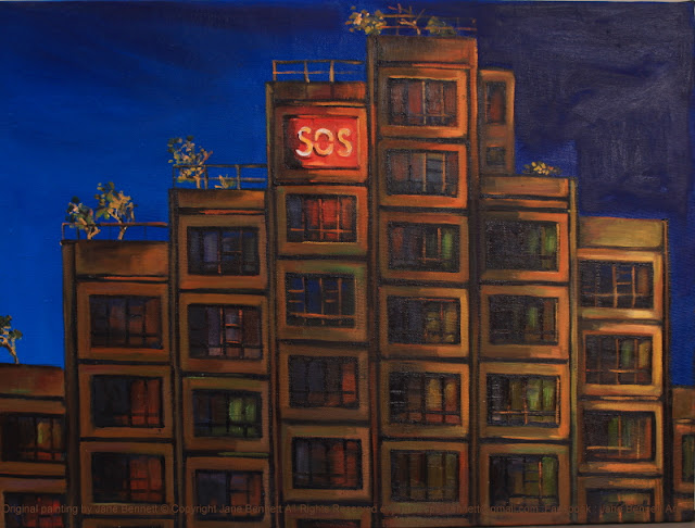 plein air oil painting painted at night of the Sirius apartment block in the Rocks by industrial heritage artist Jane Bennett