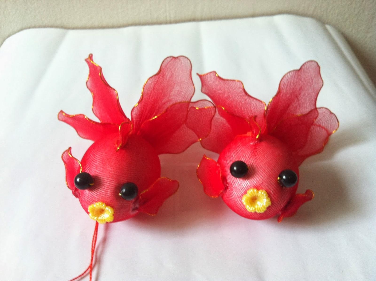 Handmade Stocking Flowers - Singapore: Art and Craft Red Goldfish