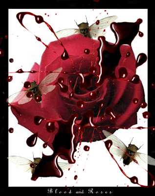 gothic-blood-rose-with-bees-wallpaper