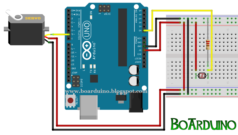 Mengontrol servo dengan sensor cahaya ldr dan arduino