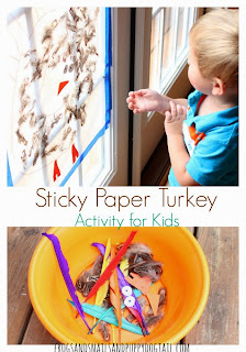 Sticky Paper Turkey Activity for Kids