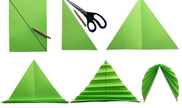 Как из цветной бумаги сделать листья