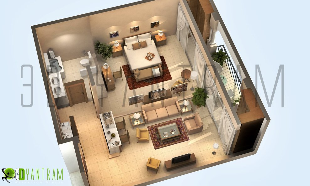 3d gun image 3d floor plan for Floor 3d design