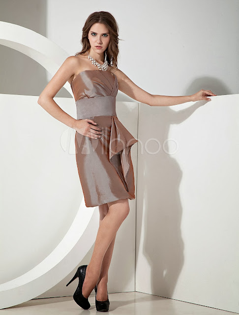 China Wholesale Clothes - A-line Strapless Cascading Ruffle Brown Taffeta Bridesmaid Dress