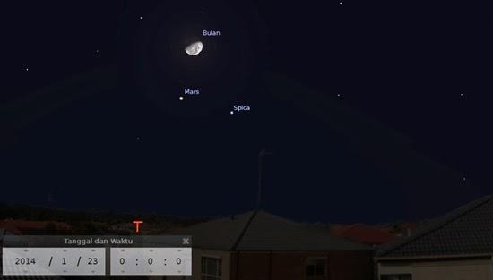 Bulan dan Planet Mars Bertemu di Langit Malam Ini