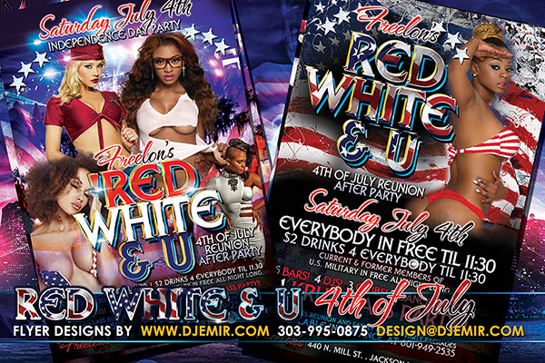 Red White & U American Independence Day 4th of July Flyer Designs Freelons Lounge Jackson Mississippi
