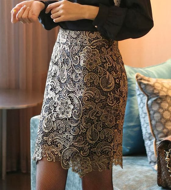 Gold Embroidery Black Midi Skirt