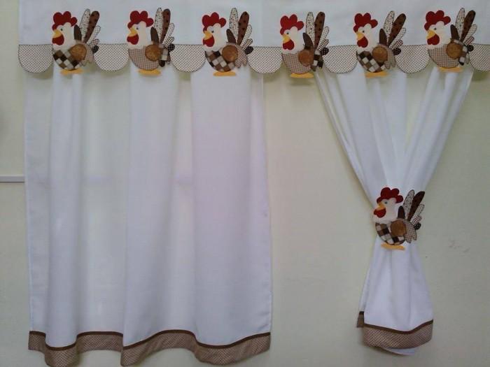 cortina para cozinha artesanal galo