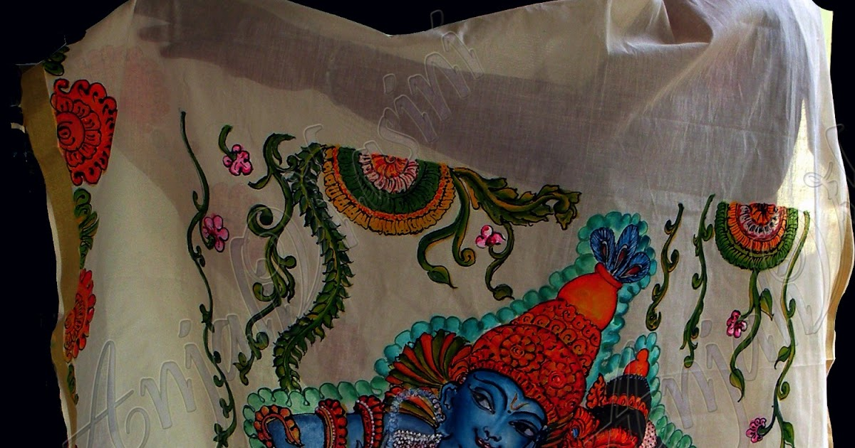 Anjali vilasini radha krishna mural painting on fabric for Aithihya mural painting fabrics