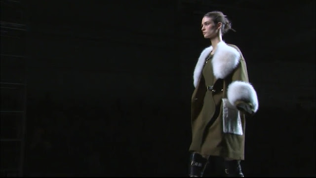 Olive Coat with White Fur at Prabal Gurung Fall 2013 Collection