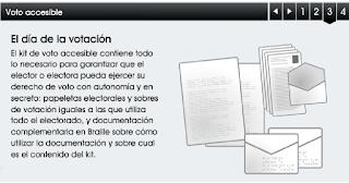 Captura de la presentación de voto accesible de www.infoelectoral.mir.es en la que aparece el dibujo de unos sobres y papeletas y una explicación en letra