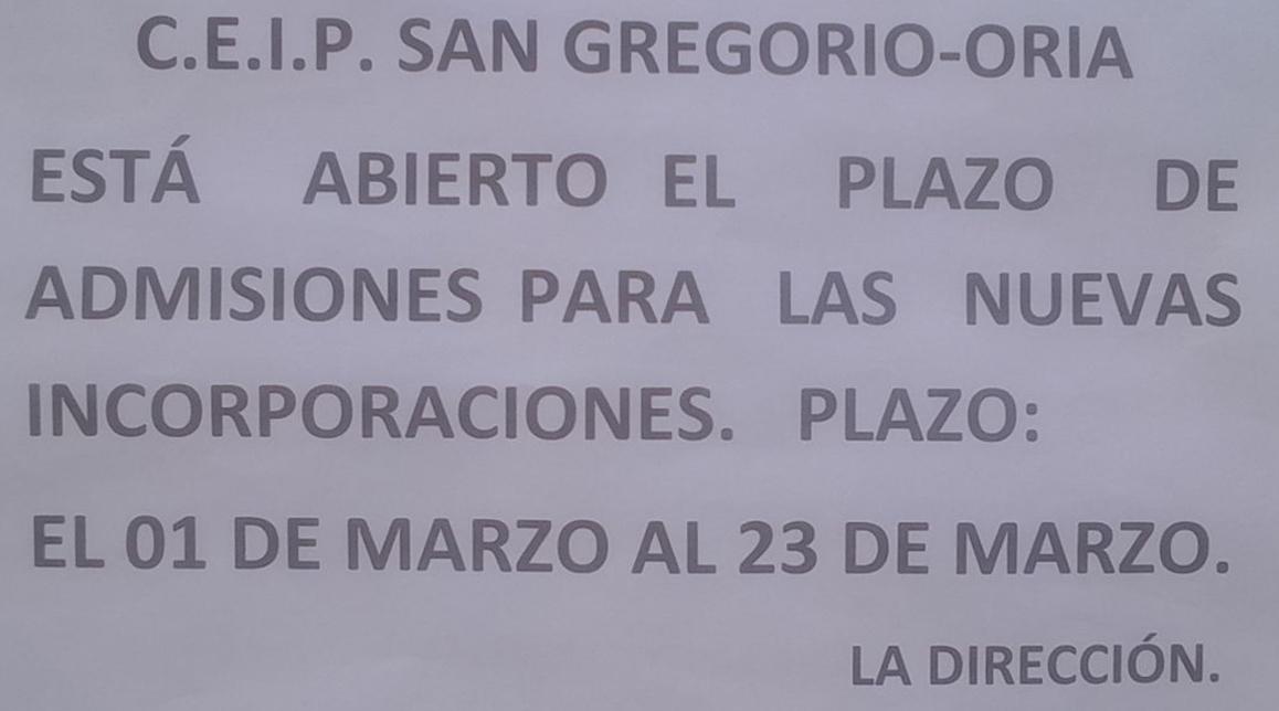 Información CEIP S. Gregorio