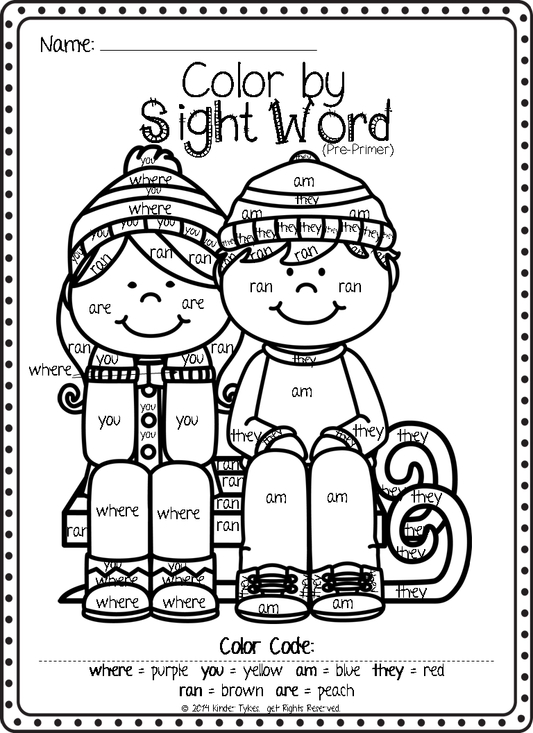 Worksheets Color By Sight Word Worksheets kinder tykes hope you enjoy
