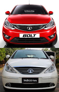 Exterior Front View: Tata Bolt versus Tata Indica Vista Compared