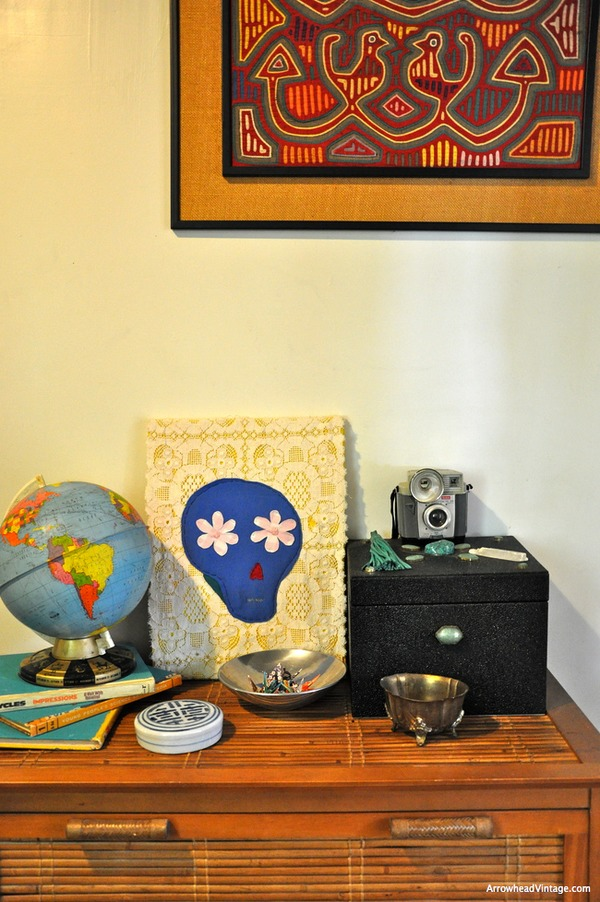 home decor vintage globe camera fabric art skull dia de los muertos hutch entryway vingette